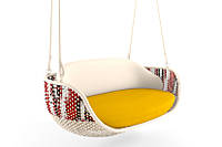 Подвесное кресло Cruzo Дабл Фолк Ei с орнаментом из искусственного ротанга Белый ks0001-0, КОД: 741548