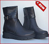 Удобные кожаные женские ботинки