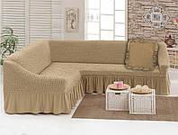 Чехол для мебели love You диван угловой +подушка Бежевый