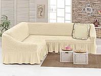 Чехол для мебели love You диван угловой +подушка Кремовый