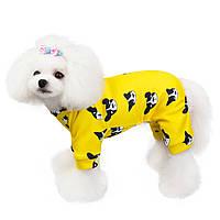 """Трикотажный комбинезон для собак Multibrand """"Бульдоги"""" желтый"""