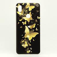Чехол Print для Xiaomi Redmi Note 7 / Note 7 Pro силиконовый бампер Butterfly Gold