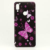 Чехол Print для Xiaomi Redmi Note 7 / Note 7 Pro силиконовый бампер Butterfly Pink