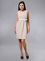 Платье-футляр бежевое с вышивкой, хлопок, Индия, 46 р-р