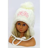 """Детская зимняя меховая шапка-ушанка для девочки """"Корона"""""""
