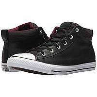 Кроссовки Converse Chuck Taylor& All Star& High Street Leather w/ Fleece Mid Black/Dark Sangria/White - Оригинал