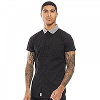 Рубашка Fluid Houndstooth Check Collar Short Sleeve Shirt Black Black - Оригинал