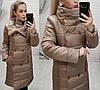 Теплое зимнее женское дутое пальто на кнопках с воротником стойка. Арт-2714/16