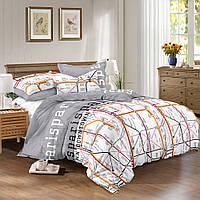 Сатиновое постельное бельё (10600) двуспальное евро 200*220 хлопок, фото 1