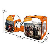 Палатка домик большая с тоннелем детская игровая - супергерои, 6118