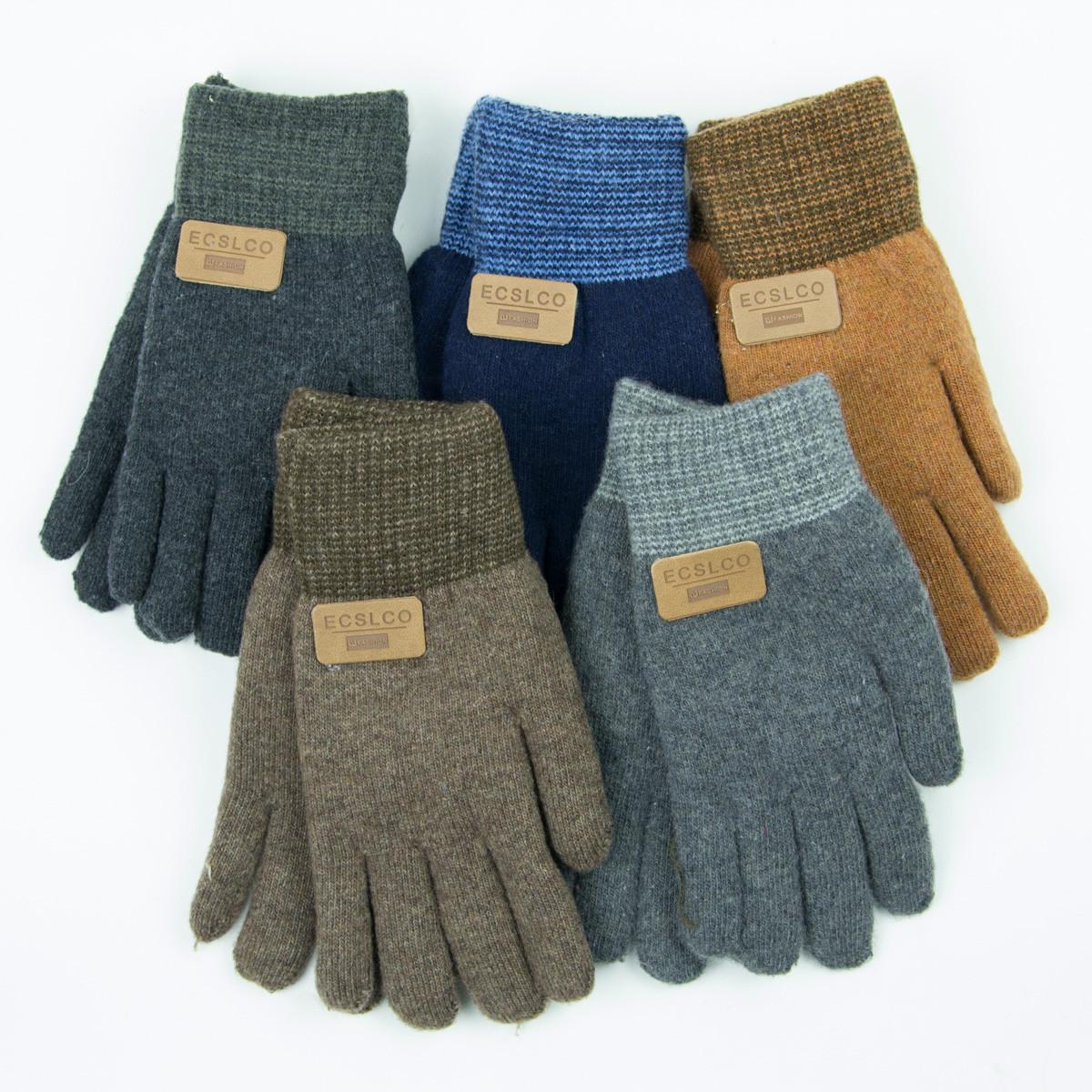 Оптом двойные шерстяные перчатки для мальчика 4-6 лет - 19-7-19