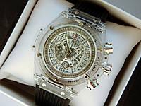 Мужские кварцевые наручные часы  Hublot (Хаблот) Big Bang Quartz Unico Sapphire прозрачные - код 1564, фото 1