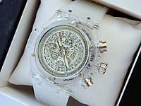 Мужские кварцевые наручные часы  Hublot (Хаблот) Big Bang Quartz Unico Sapphire белые - код 1567, фото 1