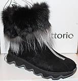 Ботинки женские замшевые зимние с натуральным мехом на толстой подошве от производителя модель УН518-1, фото 2
