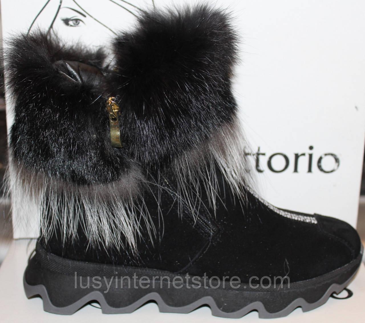 Ботинки женские замшевые зимние с натуральным мехом на толстой подошве от производителя модель УН518-1