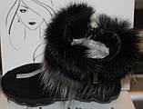 Ботинки женские замшевые зимние с натуральным мехом на толстой подошве от производителя модель УН518-1, фото 4