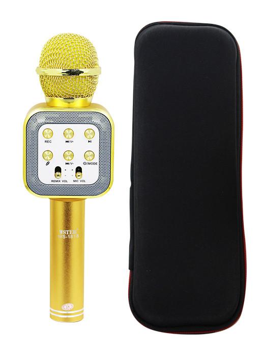 Микрофон-колонка bluetooth WS-1818 Gold + Чехол