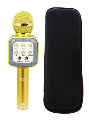 Микрофон-колонка bluetooth WS-1818 Gold + Чехол, фото 2