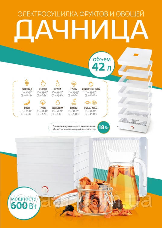 Электросушилка для овощей и фруктов ДАЧНИЦА 42 литра (металлическая)