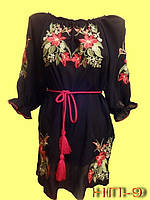 Чёрная женская вышиванка с коротким рукавом.