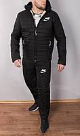 Зимний мужской костюм черный на овчине