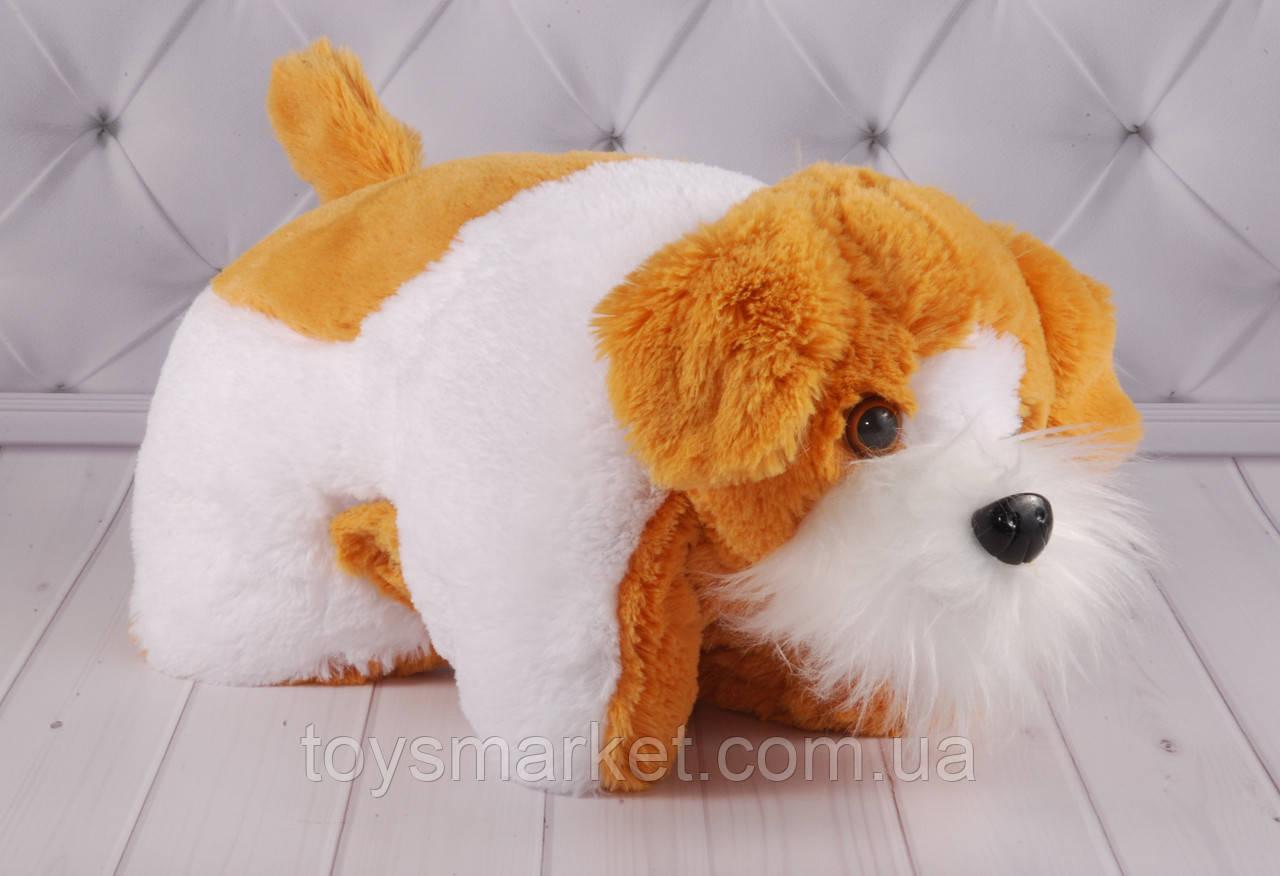 """Детская мягкая подушка-складушка собачка """"Мупсик"""", плюшевая подушка"""