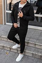 Мужской теплый спортивный костюм с большими карманами черный, фото 3