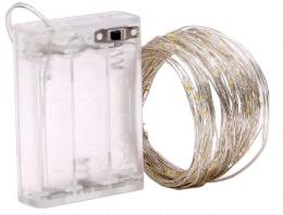 Светодиодная гирлянда нить, проволка, на батарейках 10 м., Warm White, теплый белый, фото 2