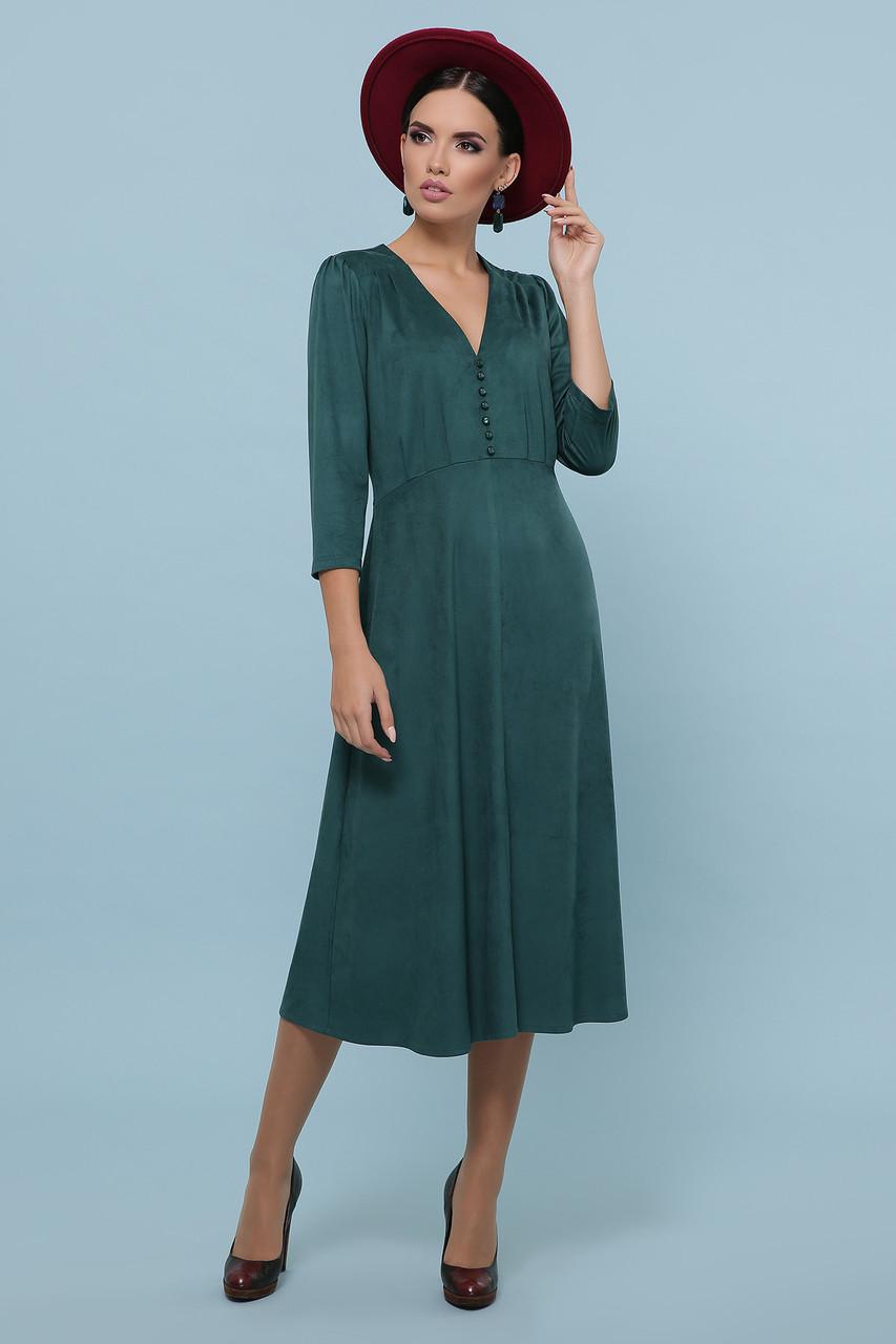 Осеннее платье миди рукав три четверти небольшой разрез спереди цвет изумрудный