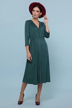 Осеннее платье миди рукав три четверти небольшой разрез спереди цвет изумрудный, фото 2