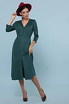 Осеннее платье миди рукав три четверти небольшой разрез спереди цвет изумрудный, фото 3