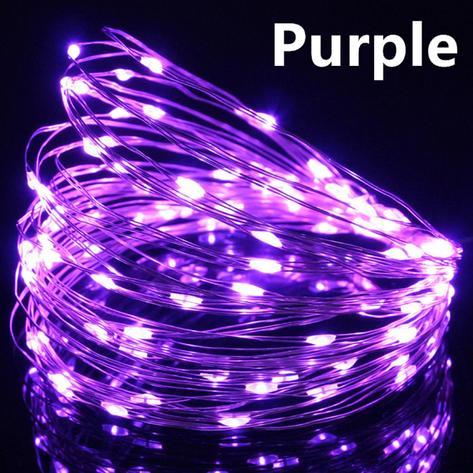 Светодиодная гирлянда нить, проволка, на батарейках 10 м., Purple, фиолетовый, фото 2
