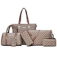 Модный набор женских сумок c коричневыми ручками из экокожи 6в1, фото 1