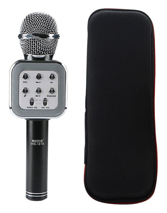 Микрофон-колонка bluetooth WS-1818 Black + Чехол