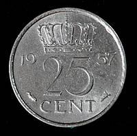 Монета Нидерландов 25 центов 1957 г.