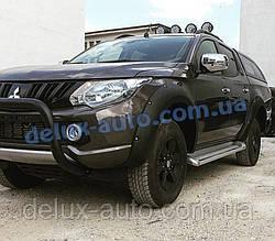Защита переднего бампера кенгурятник низкий черный на Митсубиси л200 2015+ Кенгур 70D низкий Mitsubishi L200