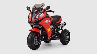 Электромобиль мотоцикл BAMBI.M3913EL-3.Свет.Музыка.Кожанное сиденье.Красный