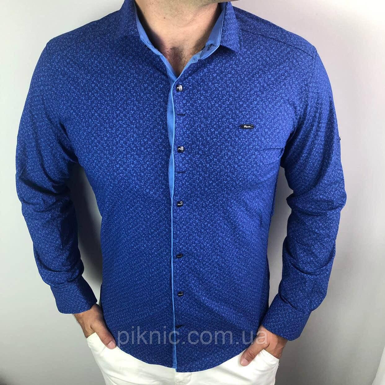 Рубашка мужская S,M,XXL длинный рукав. Турция. Молодежная турецкая рубашка трансформер. Синий
