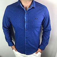 Рубашка мужская S,M,L,XL,XXL длинный рукав. Турция. Молодежная турецкая рубашка трансформер. Синий