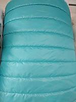 Стеганная ткань плащевка для пошива верхней одежды куртки жилетки ширина 150 см полоска цвет голубой, фото 1