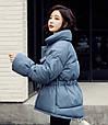 Куртка женская зимняя с поясом (синяя), фото 2