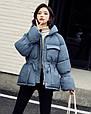 Куртка женская зимняя с поясом (синяя), фото 4