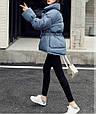 Куртка женская зимняя с поясом (синяя), фото 5