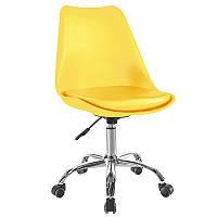 Кресло мастера пластик на колесах Астер желтое от SDM Group, сиденье с подушкой
