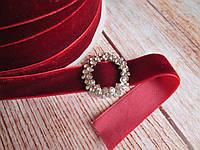 Лента бархатная, 2 см, цвет бордо (марсала), 1 м.