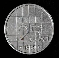 Монета Нидерландов 25 центов 1988 г.