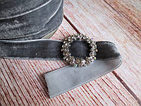 Лента бархатная, 2 см, цвет темно-серый, 1 м.
