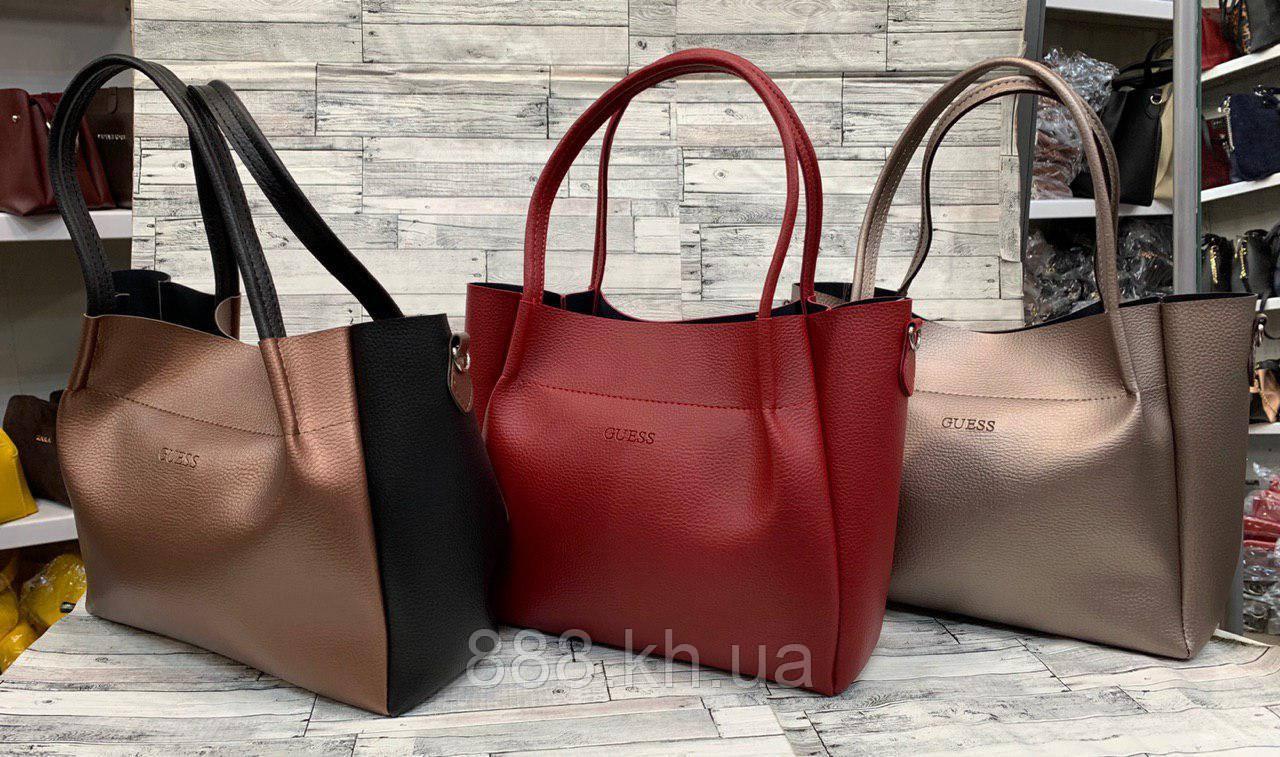 Женскаясумка-шоппер экокожа вместительнаяGuess, жіноча сумка