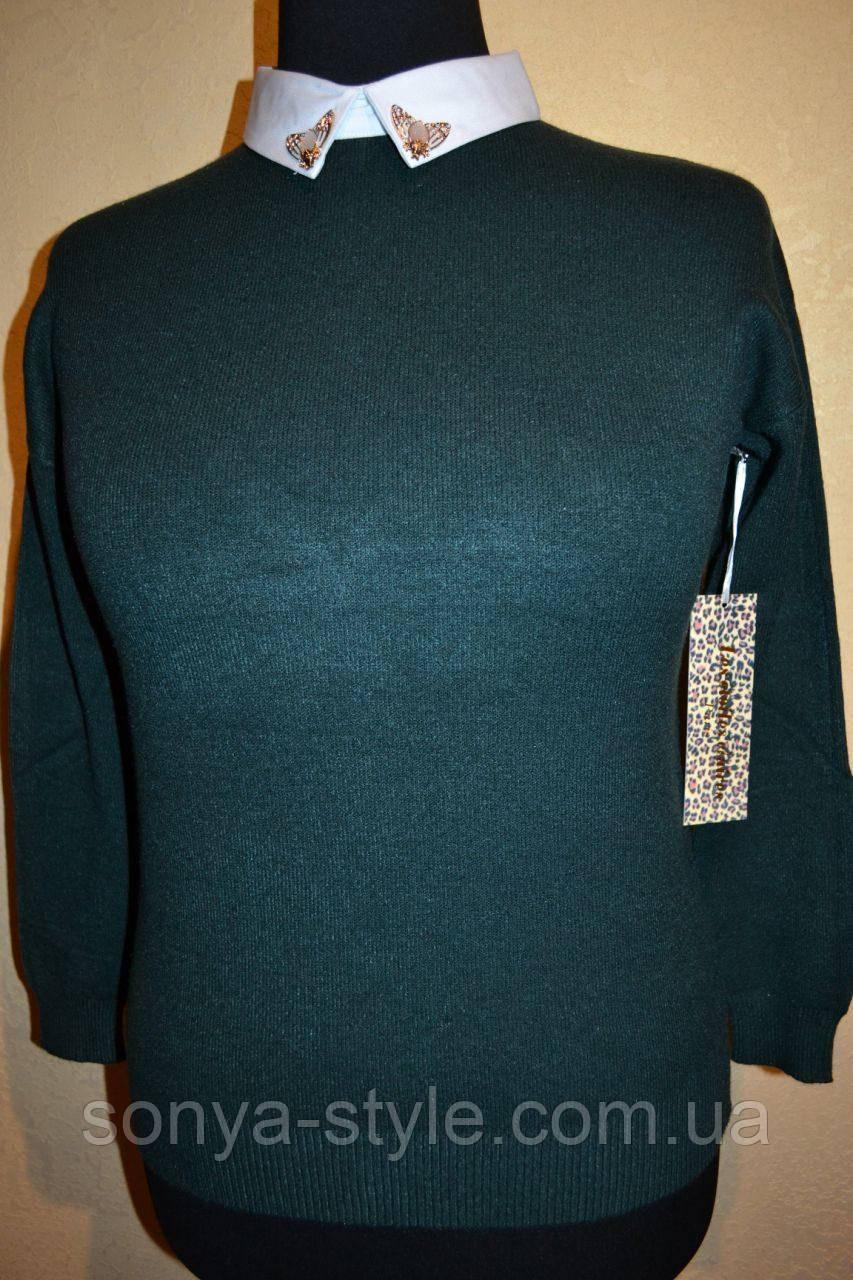 Женская кофта  с воротником    больших размеров