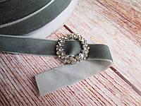 Лента бархатная, 2 см, цвет серый, 1 м.
